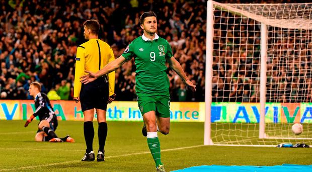 Shane Long, Republic of Ireland, celebrates after scoring his side's opening goal. UEFA EURO 2016 Championship Qualifier, Group D, Republic of Ireland v Germany. Aviva Stadium, Lansdowne Road, Dublin. Picture credit: David Maher / SPORTSFILE