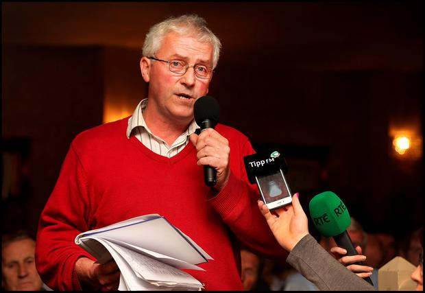 John Coughlan from Ballyfin Co Laois at the Save Our Community National Public Meeting at the Anner Hotel in Thurles Co Tipperary. Pic Steve Humphreys