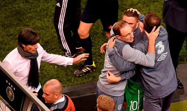 Republic of Ireland manager Martin O'Neill celebrates with Roy Keane and Republic of Ireland assistant manager Roy Keane following his side's victory. UEFA EURO 2016 Championship Qualifier, Group D, Republic of Ireland v Germany. Aviva Stadium, Lansdowne Road, Dublin. Picture credit: Stephen McCarthy / SPORTSFILE