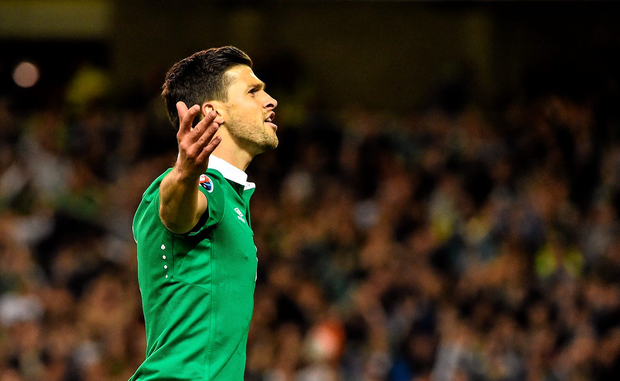 Shane Long celebrates after scoring his side's opening goal