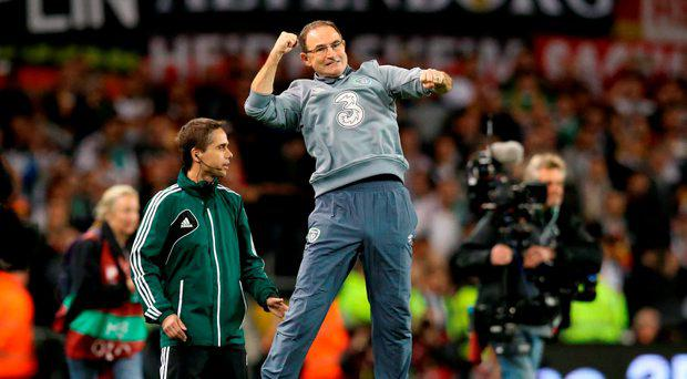Republic of Ireland manager Martin O'Neill celebrates at the final whistle of the UEFA European Championship Qualifying match at the Aviva Stadium, Dublin