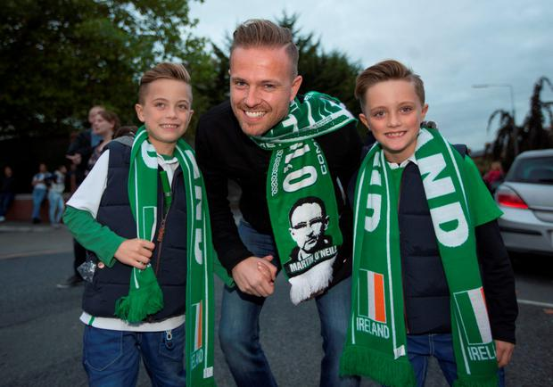 Nicky Byrne & his 2 kids Jay and Rocco, on their way to the game. UEFA EURO 2016 Championship Qualifier, Group D, Republic of Ireland v Germany. Aviva Stadium, Lansdowne Road, Dublin.. 8/10/2015 Picture by Fergal Phillips