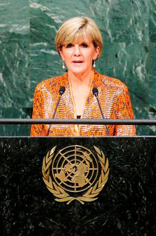 Australian Foreign Minister Julie Bishop speaks before attendees during the 70th session of the United Nations General Assembly at the U.N. Headquarters in New York. Reuters/Eduardo Munoz