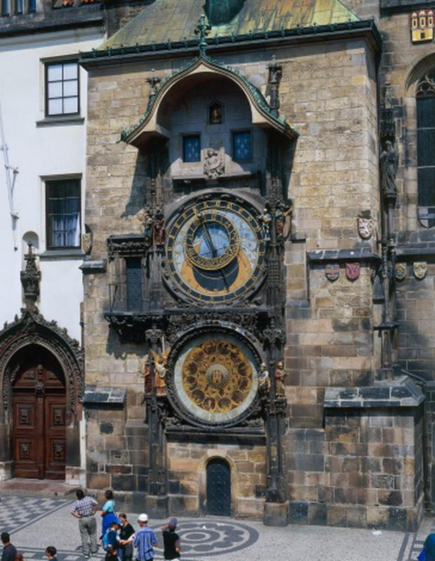 Upper quadrant with zodiac signs and lower with calendar, by Mikulas de Kadan, astronomical Clock, City Hall, Prague (UNESCO World Heritage List, 1992), Czech Republic, 15th century