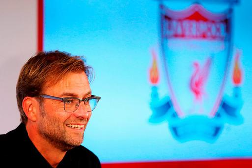 Jurgen Klopp is unveiled as the new manager of Liverpool FC during a press conference at Anfield