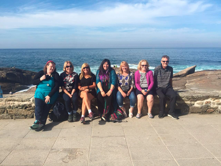 Liz, Aileen, Frances, Andrea, Mary, Brenda and Brian on the final day of the Camino