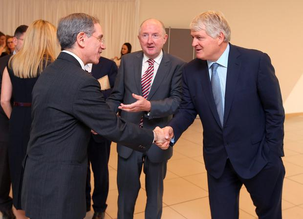 James Morrissey, centre, introduces Denis O'Brien to Dr Kenneth Offit before he gave the annual O'Brien science lecture, at the UCD O'Brien centre for science, Dublin. Picture credit; Damien Eagers 8/10/2015