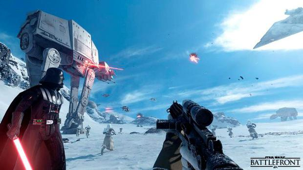 Star Wars Battlefront - Darth Vader watches as an AT AT walks in the background