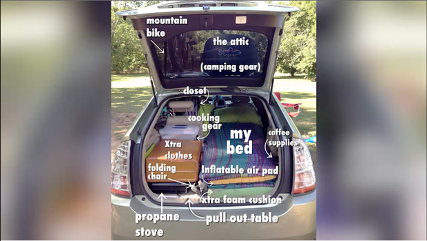 Chris ensured that Hotel Prius was neatly packed at all times Credit: You Tube/Buzzfeed