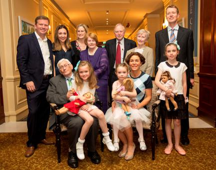 Seamus Mallon with some of his family and grandchildren tonight, as the SDLP hosted an evening to honour the contribution of Seamus Mallon, the former Deputy First Minister, who is widely regarded as one of the principal architects of the Good Friday Agreement.. 9/10/2015 Picture by Fergal Phillips