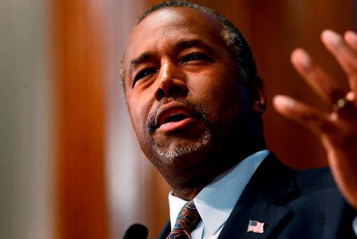 US Republican candidate Ben Carson speaks at the National Press Club in Washington. Photo: Reuters