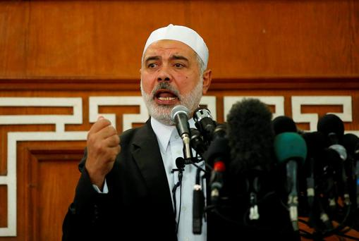 Hamas leader in Gaza Ismail Haniyeh called on Palestinians to step up their fight against Israel, describing the recent surge in violence in Jerusalem and the occupied West Bank as the beginning of a new uprising, or intifada. Photo: Reuters