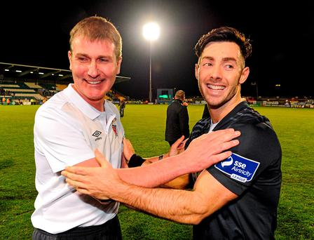 Stephen Kenny and Richie Towell celebrate after Dundalk's title-clinching draw in Tallaght