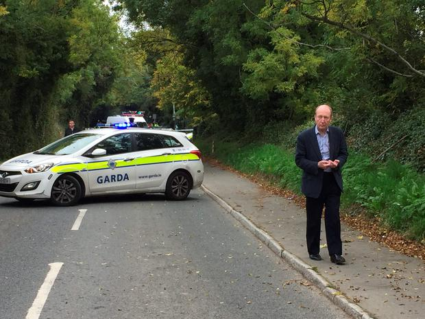 TD Shane Ross pictured at the scene of the tragedy today (Photo: Jason Kennedy)