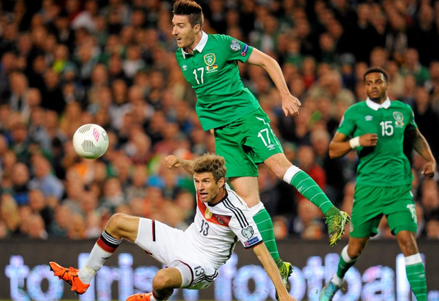 Stephen Ward in action against Germany's Thomas during Ireland's 1-0 victory at the Aviva Stadium