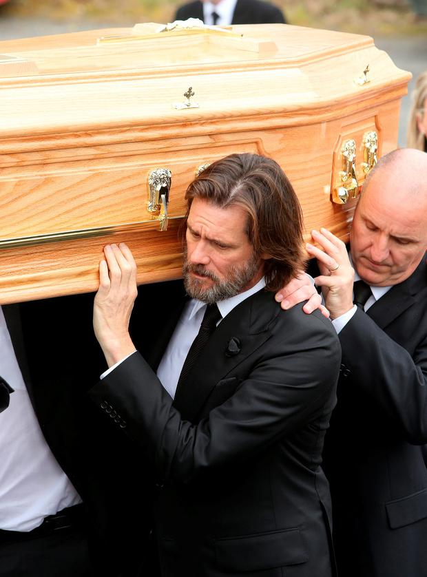 Cathriona White funeral. Jim Carrey with Cathrionas coffin on the way to the graveyard Picture; GERRY MOONEY. 10/10/15