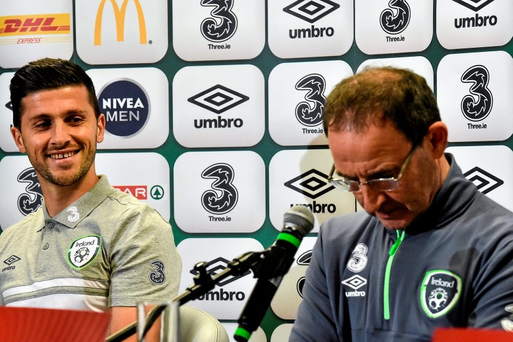 Republic of Ireland manager Martin O'Neill, right, with Shane Long during today's press conference in Warsaw. Picture credit: David Maher / SPORTSFILE