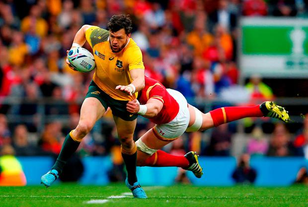Adam Ashley-Cooper of Australia breaks away from Alun Wyn Jones
