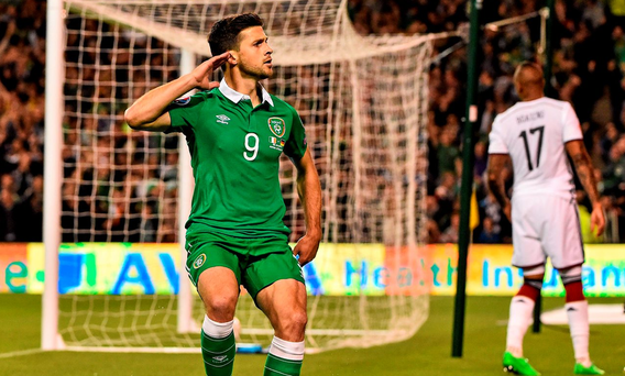 Shane Long celebrates after scoring against Germany