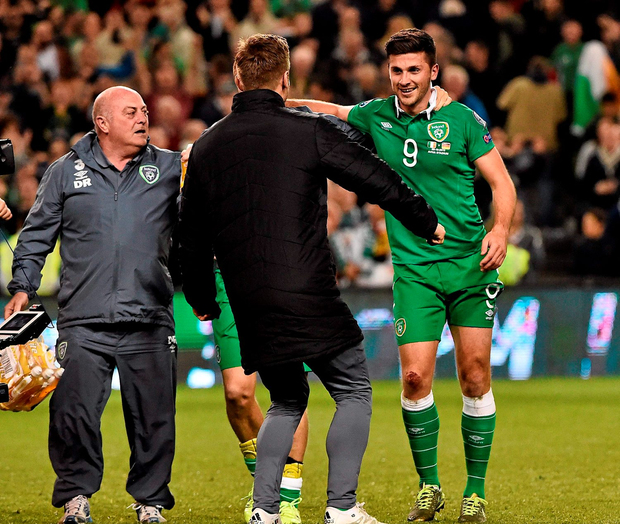 Shane Long, Republic of Ireland, celebrates with Kevin Doyle after the game. UEFA EURO 2016 Championship Qualifier, Group D, Republic of Ireland v Germany. Aviva Stadium, Lansdowne Road, Dublin. Picture credit: David Maher / SPORTSFILE