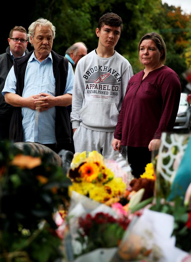 Relatives of the deceased, Francis McDonald, with his daughter Margaret Donohue and her son Josh in Carrickmines Credit: Brian Lawless/PA Wire