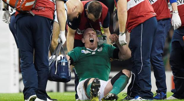 Ireland's Paul O'Connell receives treatment after sustaining an injury