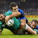 Rob Kearney scores the first try for Ireland in the win over France