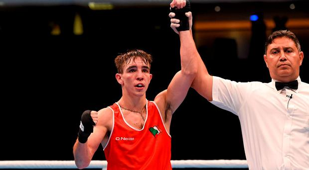 Michael Conlan, Ireland, celebrates after beating Dzmitry Asanau, Belarus, in their Men's Bantamweight 56kg Semi-Final bout. AIBA World Boxing Championships, Semi-Finals, Ali Bin Hamad Al Attiyah Arena, Doha, Qatar. Picture credit: Paul Mohan / SPORTSFILE