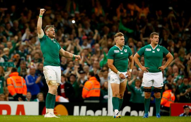 Jamie Heaslip celebrates on the final whistle during the 2015 Rugby World Cup Pool D match between France and Ireland at Millennium Stadium