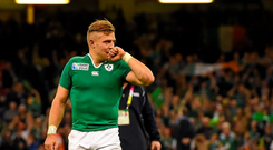Ireland's Ian Madigan celebrates after the final whistle. Picture credit: Brendan Moran / SPORTSFILE