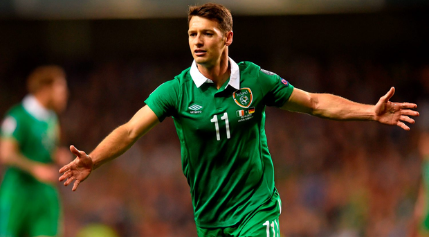 Ireland's Wes Hoolahan appeals a decision. UEFA EURO 2016 Championship Qualifier, Group D, Republic of Ireland v Germany. Aviva Stadium, Lansdowne Road, Dublin. Picture credit: Ramsey Cardy / SPORTSFILE
