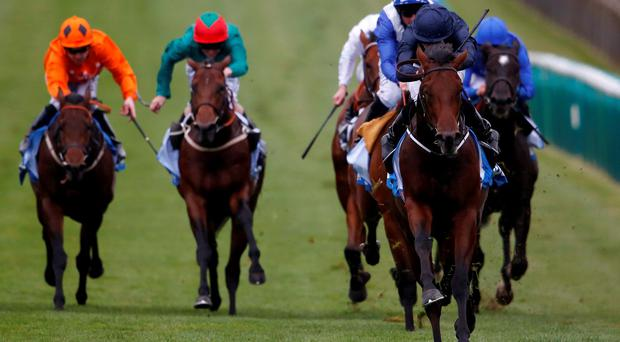 Air Force Blue, under Ryan Moore, leaves his rivals for dead in Saturday's Dewhurst Stakes at Newmarket