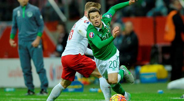 Ireland's Wes Hoolahan in action with Poland's Jakub Blaszczykowski Action Images via Reuters / Adam Holt Livepic EDITORIAL USE ONLY.