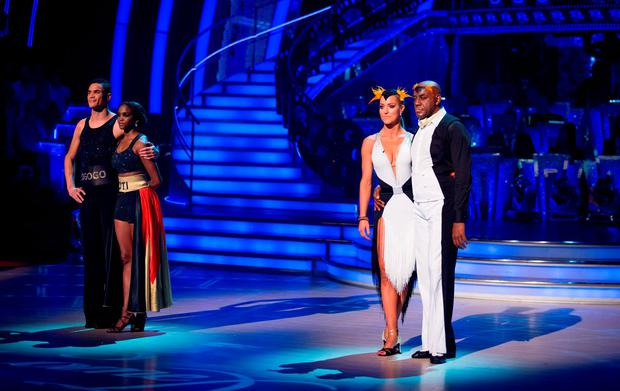 Anthony Ogogo and Oti Mabuse (left) wait with Ainsley Harriott and Natalie Lowe to find out who gets voted off BBC1's Strictly Come Dancing. Guy Levy/BBC/PA Wire