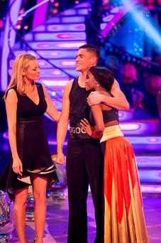 Anthony Ogogo and Oti Mabuse after being voted of BBC1's Strictly Come Dancing. Guy Levy/BBC/PA Wire