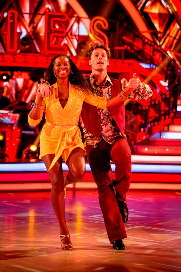 Jamelia and her dance partner Tristan MacManus during a dress rehearsal recording for this year's series of Strictly Come Dancing on BBC1. Guy Levy/BBC/PA Wire