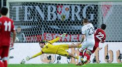 Germany's Max Kruse scores the winning goal against Georgia
