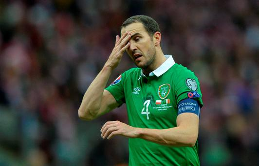 John O'Shea was sent off after two yellow cards
