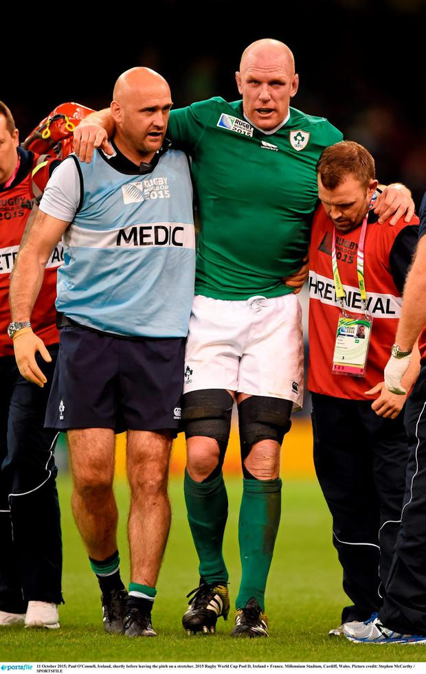 Paul O'Connell, Ireland, shortly before leaving the pitch on a stretcher. 2015 Rugby World Cup Pool D, Ireland v France. Millennium Stadium, Cardiff, Wales