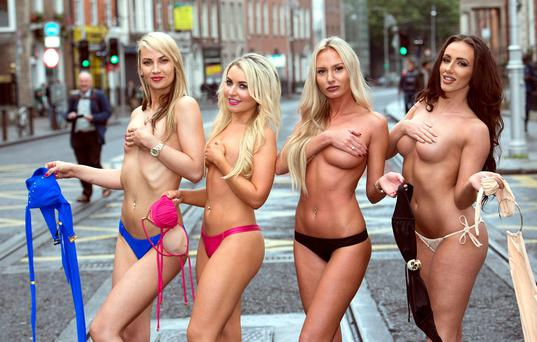 Big brother Housemate Sarah Greenwood joins Miss Bikini Ireland 2015 hopefuls on Harcourt Street who show support for