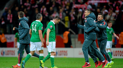 Robbie Keane and Jon Walters, Republic of Ireland, dejected at the final whistle. UEFA EURO 2016 Championship Qualifier, Group D, Poland v Republic of Ireland. Stadion Narodowy, Warsaw, Poland. Picture credit: Seb Daly / SPORTSFILE