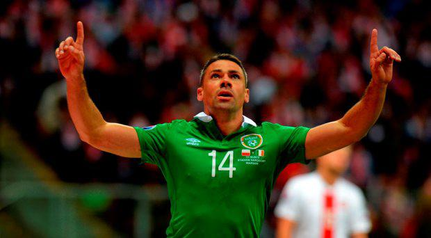 Republic of Ireland's Jon Walters celebrates scoring from the penalty spot during the European Championship Qualifying match at the National Stadium, Warsaw