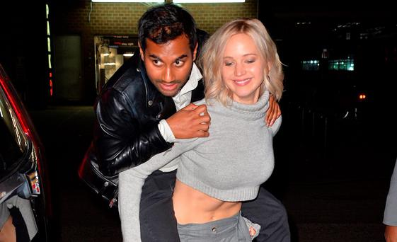 Jennifer Lawrence and Aziz Ansari sighting on October 10, 2015 in New York City. (Photo by Robert Kamau/GC Images)