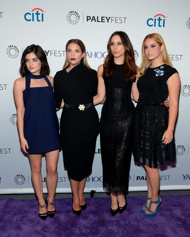 (L-R) Actresses Lucy Hale, Sasha Pieterse, Troian Bellisario and Ashley Benson attend PaleyFest New York 2015 for