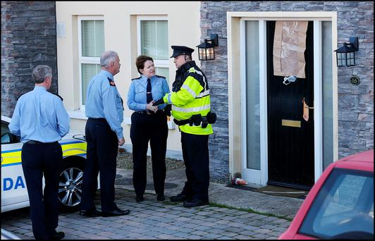 Garda Commissioner Noirin O'Sullivan at the scene of the fatal shooting in Omeath Co Louth Pic Steve Humphreys