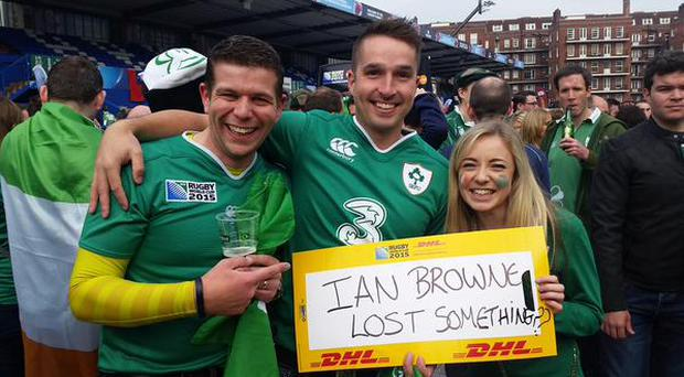 Happy Irish fans prior to the World Cup Pool D encounter between Ireland and France. Pic Credit: Twitter/@FluentBarry