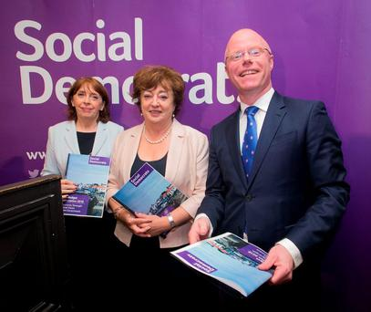 Social Democrat TD's (L to R) Roisin Shortall, Stephen Donnelly & Catherine Murphy at the unveiling of their budget proposals and vision for rebuilding public services at Buswell's Hotel, Dublin