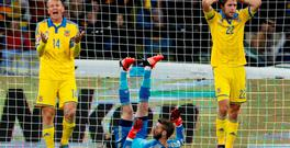 Ukraine were consigned to the Euro 2016 play-offs after losing 1-0 at home to reigning champions Spain in their final Group C qualifying match