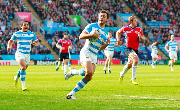 Juan Martin Hernandez scores the first try for Argentina against Namibia during the World Cup pool match at the weekend