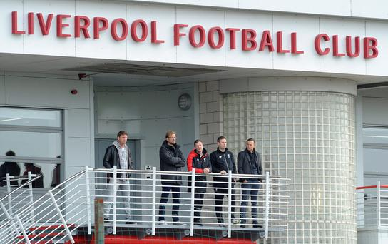 Jurgen Klopp (2nd left) with Academy Director Alex Inglethorpe, U21 coach Michael Beale and First-Team Development Coach Pepijn Lijnders